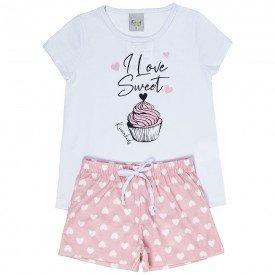 pijama infantil feminino sweet branco coracoes rose kw300 9391
