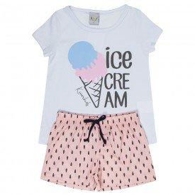 pijama infantil feminino ice cream branco rosa nude kw303 9401