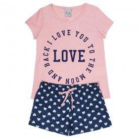 pijama infantil feminino love rose coracoes marinho kw302 9400