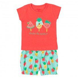conjunto bebe menina blusa e shorts docura coral verde agua 11595 9511