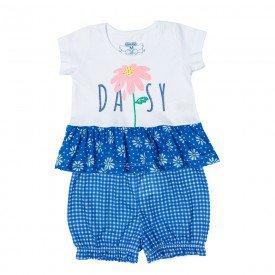 conjunto bebe menina bata e shorts margarida branco royal 11600 9514