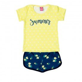 conjunto infantil feminino blusa e shorts summer amarelo marinho 11621 9525
