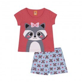 pijama infantil feminino guaxinim coral azul 22149 9695