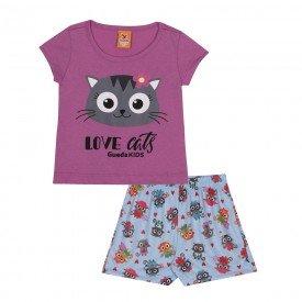 pijama infantil feminino love cats rosaazul 22150 9697