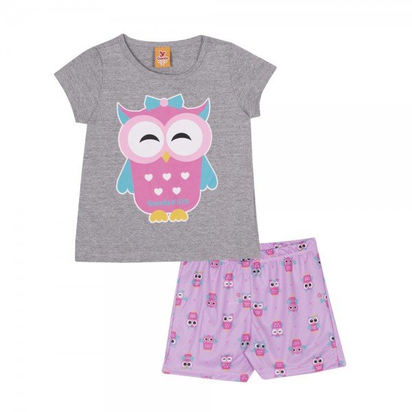 pijama infantil feminino coruja mesclalilas 22244 9699
