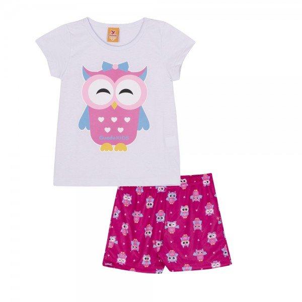 pijama infantil feminino coruja brancopink 22244 9700