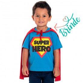 camiseta infantil masculina super hero brinde capa azul vermelho 22100 9705
