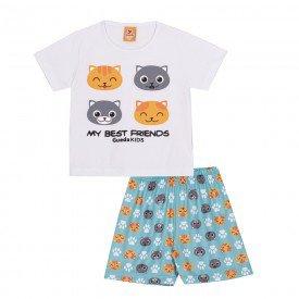 pijama infantil masculino gatinhos brancoverde 22148 9713