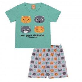 pijama infantil masculino gatinhos verdecinza 22148 9714