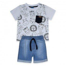 conjunto bebe menino safari branco jeans confort claro 4085 9323