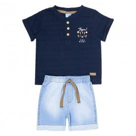 conjunto bebe menino camiseta marinho e bermuda jeans confort 4083 9320