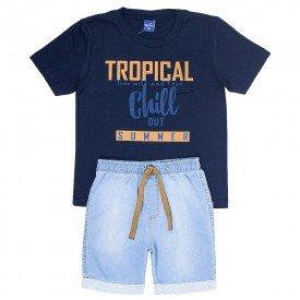 conjunto infantil masculino tropical marinho jeans confort 6325 9353