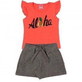 conjunto infantil feminino blusa e shorts aloha coral mescla dark 11624 9527