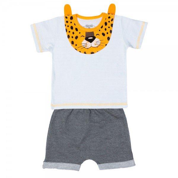 conjunto bebe menino camiseta e bermuda saruel branco mescla dark 11675 9540