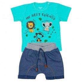 conjunto bebe menino camiseta e bermuda saruel verde agua jeans marinho 11677 9543