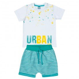 conjunto infantil masculino camiseta e bermuda saruel branco verde 11688 9552