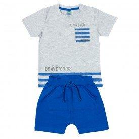 conjunto infantil masculino camiseta e bermuda saruel mescla gelo royal 11693 9554 2
