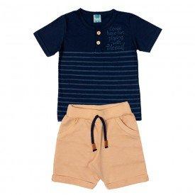 conjunto infantil masculino camiseta e bermuda marinho areia 11697 9588