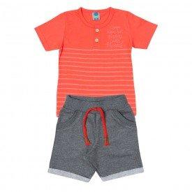 conjunto infantil masculino camiseta e bermuda laranja mescla dark 11697 9559