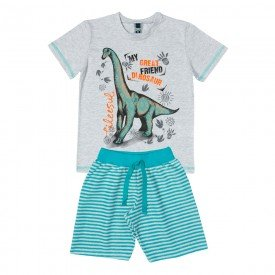 conjunto infantil masculino camiseta e bermuda mescla gelo verde 11705 9566 2