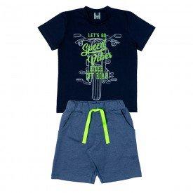 conjunto infantil masculino camiseta e bermuda speed vibe marinho 11707 9568