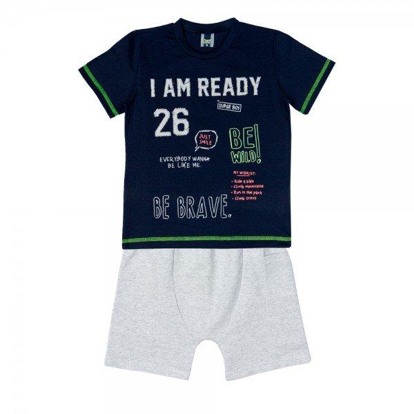 conjunto infantil masculino camiseta e bermuda saruel marinho mescla gelo 11709 9569