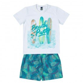 conjunto infantil masculino camiseta e bermuda beach party branco esmeralda 11710 9571