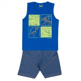 conjunto infantil masculino regata e bermuda azul royal marinho 11712 9573
