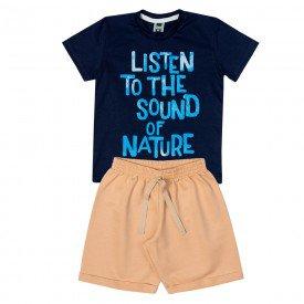 conjunto infantil masculino camiseta e bermuda marinho areia 11717 9574 2