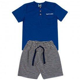 conjunto infantil masculino camiseta e bermuda azul marinho 11719 9575