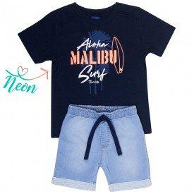 conjunto infantil masculino camiseta marinho e bermuda jeans confort 5326 9332
