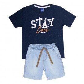 conjunto infantil masculino camiseta marinho e bermuda jeans light 6328 9356