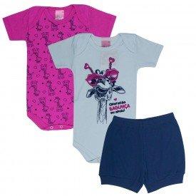 kit body bebe 3 pecas girafinha branco pink marinho 1708 9496 2