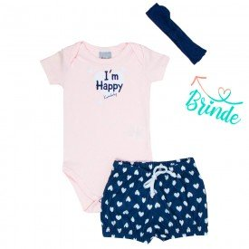 conjunto bebe menina body e short brinde faixa de cabelo rosa claro coracoes marinho kw002 9381