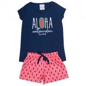 pijama infantil feminino aloha marinho melancia kw301 9394 4