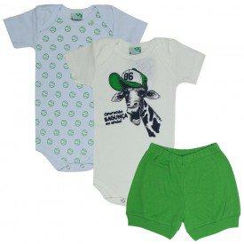 kit body bebe 3 pecas girafinha branco off verde 1709 9498 2