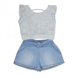 conjunto infantil feminino blusa e short branco chambray claro 1225 2224 9306