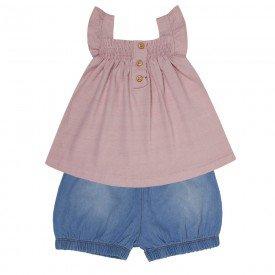 conjunto bebe menina bata e short rosa candy chambray claro 0082 9292