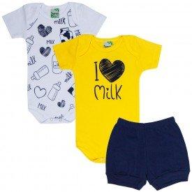 kit body bebe 3 pecas milk branco amaralo marinho 1714 9505