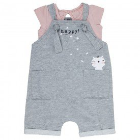 conjunto bebe menina body e jardineira moletinho rosa candy mescla 0086 9297 3