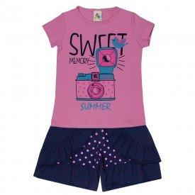 conjunto infantil feminino sweet rosa claro marinho 161086 9446