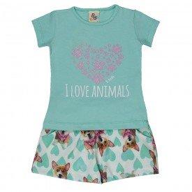 conjunto infantil feminino love animals verde agua 161069 9437 2