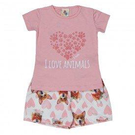 conjunto infantil feminino love animals rosa claro 161069 9436