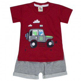conjunto bebe menino travel vermelho mescla 161006 9460