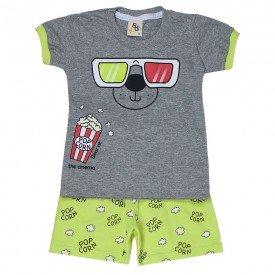 conjunto bebe menino camiseta e bermuda moletinho mescla lima 161004 9457