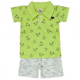conjunto bebe menino camisa polo e bermuda lima cru off 161009 9463 2
