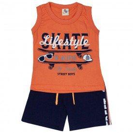 conjunto infantil masculino regata e bermuda life style laranja marinho 161025 9483