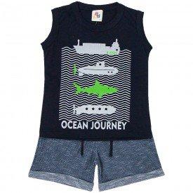 conjunto infantil masculino regata e bermuda ocean preto chumbo 161026 9486