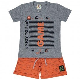 conjunto infantil masculino camiseta e bermuda game mescla laranja 161021 9478