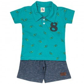 conjunto infantil masculino camisa polo e bermuda verde scuba chumbo 161023 9480